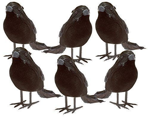 You get 6 Halloween Black Feathered small foam crows Scary crows with real life-like appearance Each crow measures approximately 4 inches tall and 6 inches from beak to tail feathers Wires on feet permit temporary attachment to branches, fences, chair backs and other like surfaces Great Halloween, fall or winter decorations. 100% satisfaction guarantee or your money back.