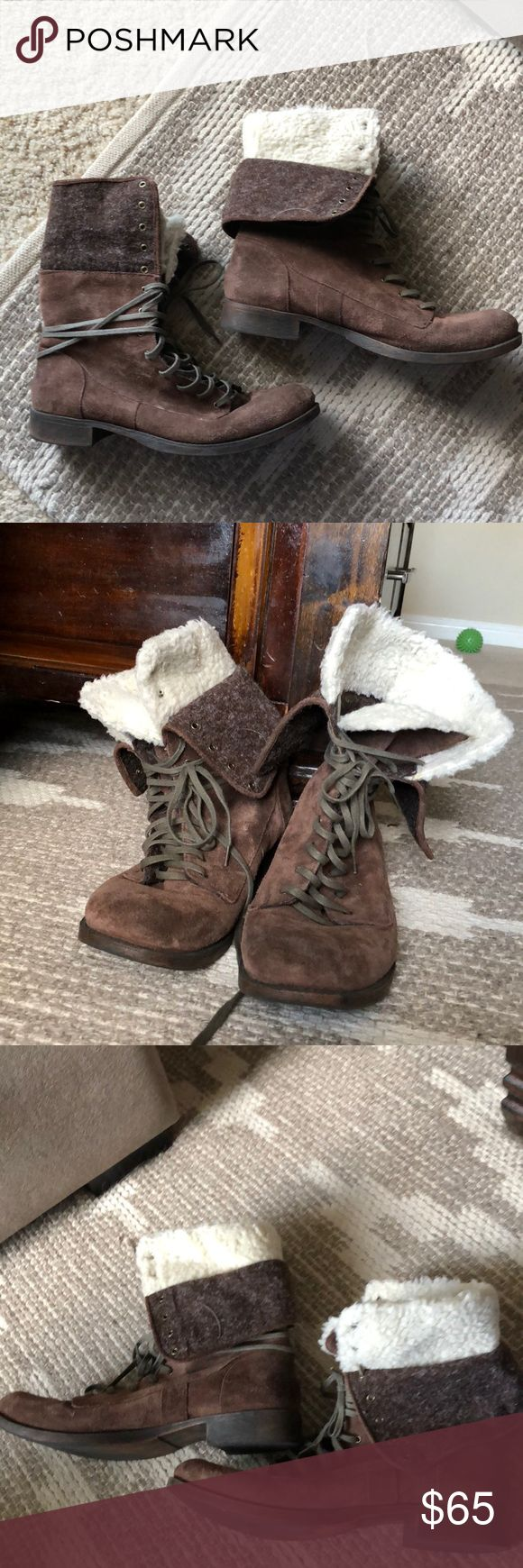 Nine West American vintage fur lined lace up boots Bohemian/ vintage style brown with white fur lined boots with a combat lace up front, Nine West American vintage. Very good condition, worn 4-5 times. Nine West Shoes Lace Up Boots