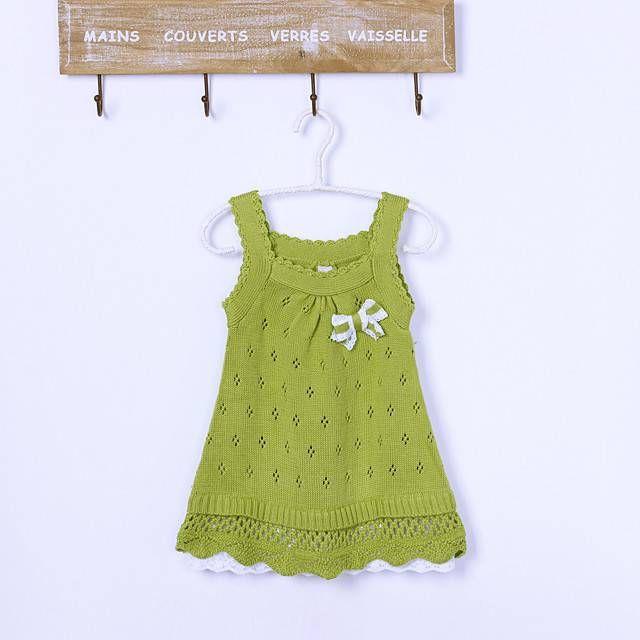 Для юных модниц:сарафанчик спицами. Зелёный сарафан для девочки спицами
