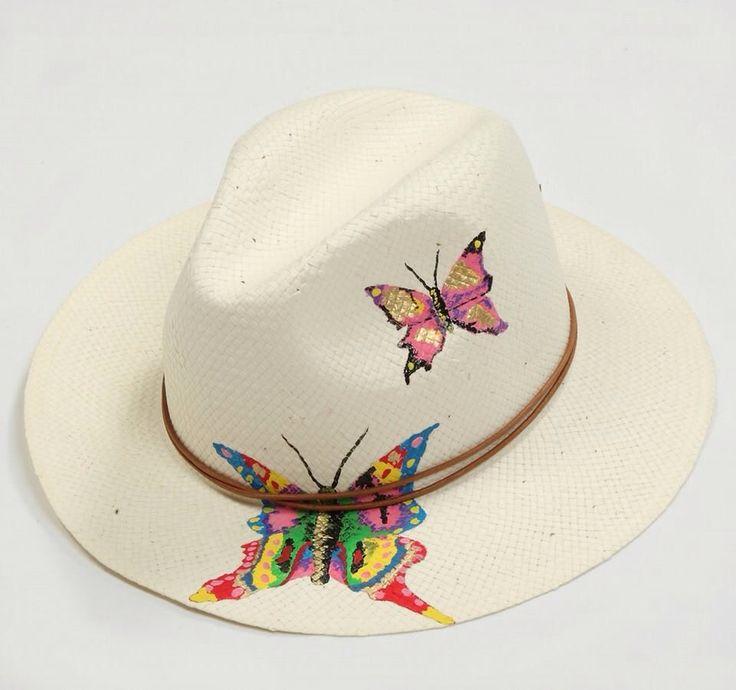 Butterflies#hat#handpainted#retro#junkee