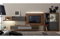 Contemporary TV wall unit / oak / glossy lacquered wood / lacquered wood