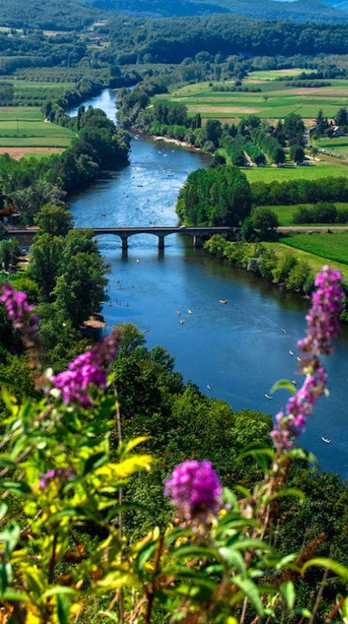 The Corrèze River in Domme, Périgord, France