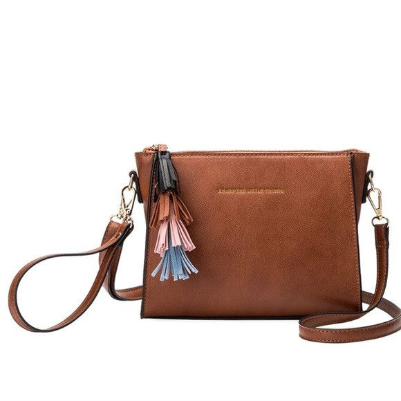 Melie Bianco Saddle Byron Quote Crossbody & Tassels
