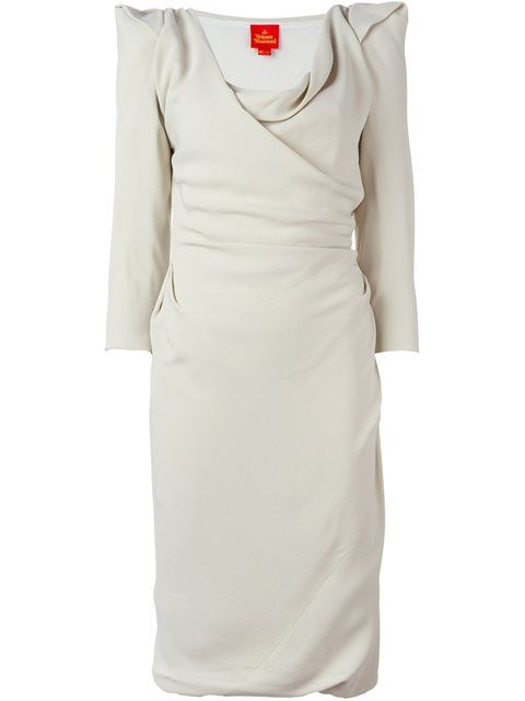 Shop Vivienne Westwood Red Label structured shoulders draped dress.
