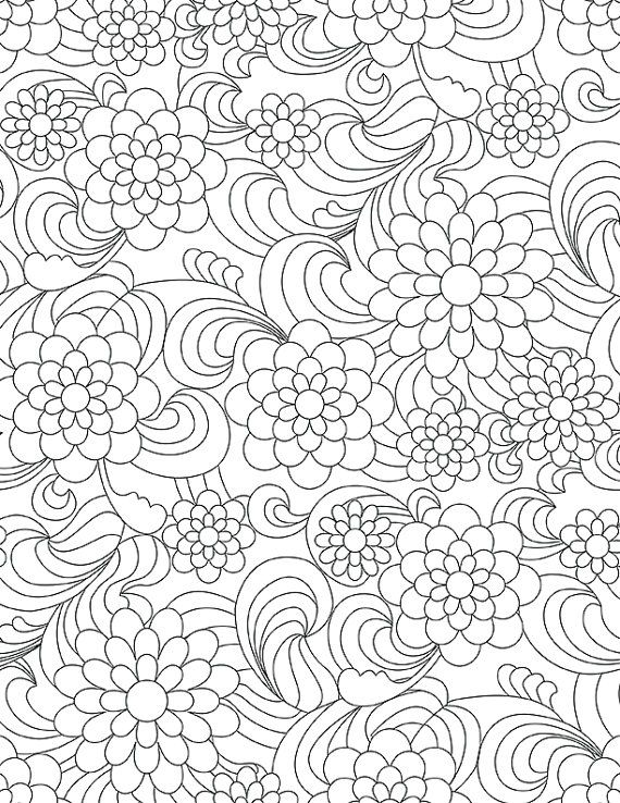 paisley flowers adult child all ages coloring book page digital download