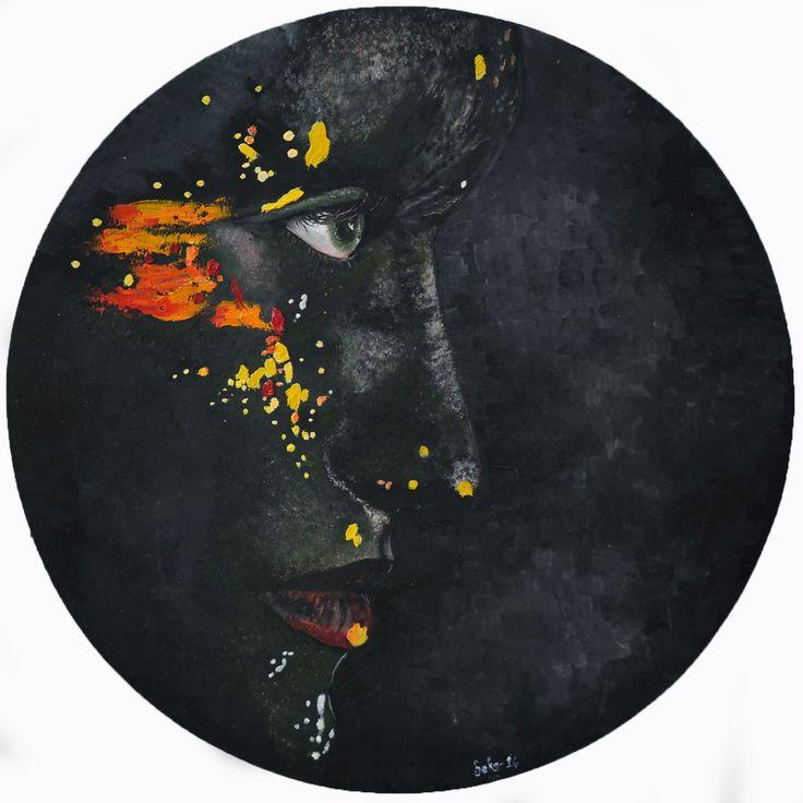 Bakış (Glaze) by Bahar Ulus Tuval Üzerine #YağlıBoya / #Oiloncanvas 50cm x 50cm  #gallerymak #oilpainting #sergi #yagliboya #portrait #siyah #kadın #tasarım #sanat #plastiksanatlar #artforsale #ressam #resim #tablo #black #contemporaryart #masterpiece #sanatsal #artoftheday #paintings #finearts #contemporary #portre #modernart #cagdassanat #modernsanat #artgallery #artoftheday