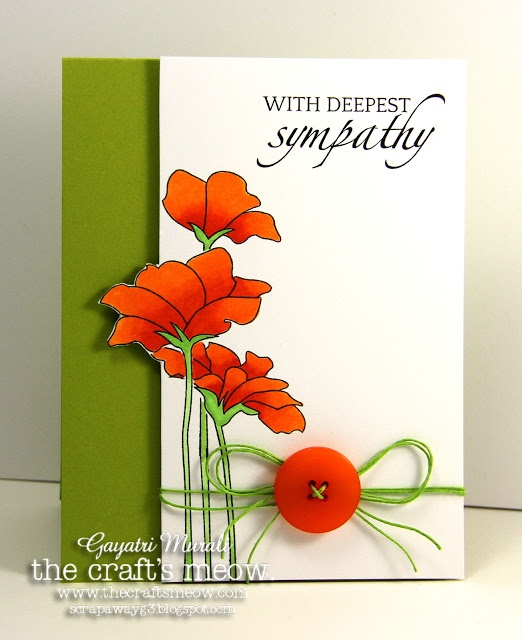 Love it! Tri fold with front trimmed out flowers: Stores Blog, Cards Ideas, Sympathy Cards, Orange Sympathy, Cards Sympathy, Green And Orange, Cards Crafts, The Crafts, Crafts Meow