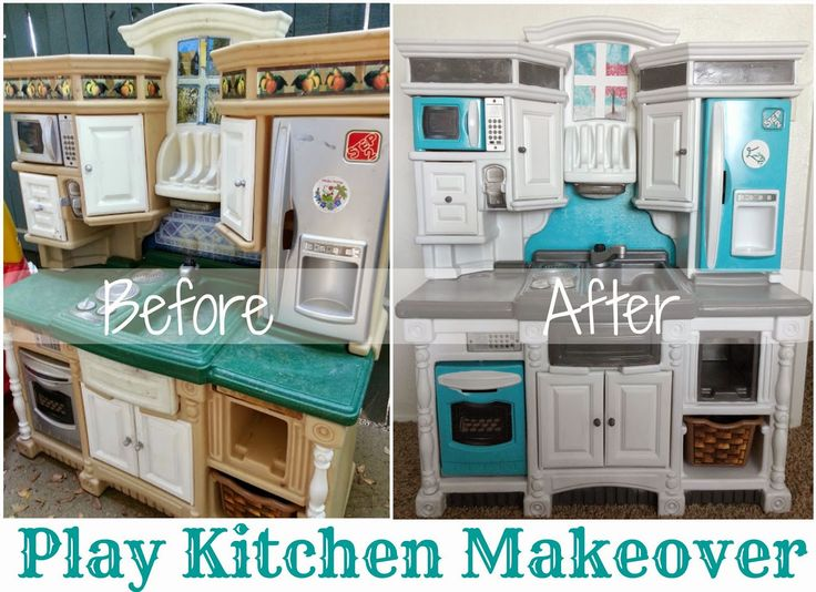 Emily's Plastic Play Kitchen Makeover Reveal Little bits of sunshine blog turqoise grey and white