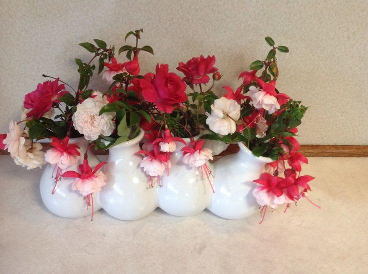 Fuchsias and roses