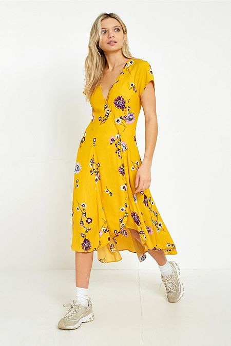3e03b8353d4f Free People Lost In You Yellow Floral Midi Dress | Flowers vector ...