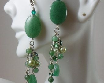 Satıştaki Yeşil Gümüş Küpe Takı / El Yapımı Gümüş Takı / İnci Küpe / El yapımı Kulak Teller