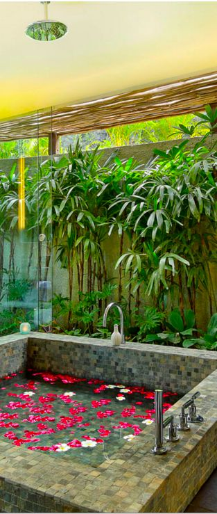 Indoor/outdoor bathroom at the Hidden Hills Estate, Bukit, Bali, Indonesia. Beyond Villas Bali has a selection of beautiful villas, all over Bali, to suit every style & Budget. www.beyondvillas.com, Bali, Indonesia