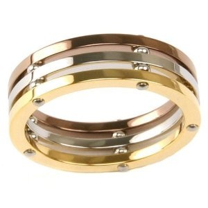 Stainless Steel Ring 316 Tri-Color Gold Plated Polished Band 6.5 Width by Bucasi