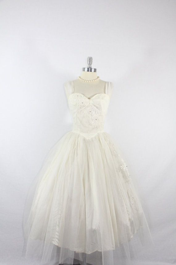 (Maybe my favorite so far ... .) 1950's Vintage Wedding Dress  White Tulle by VintageFrocksOfFancy, $190.00