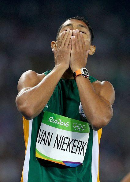 Wayde van Niekerk of South Africa wins the Men's 400 meter final on Day 9 of the…