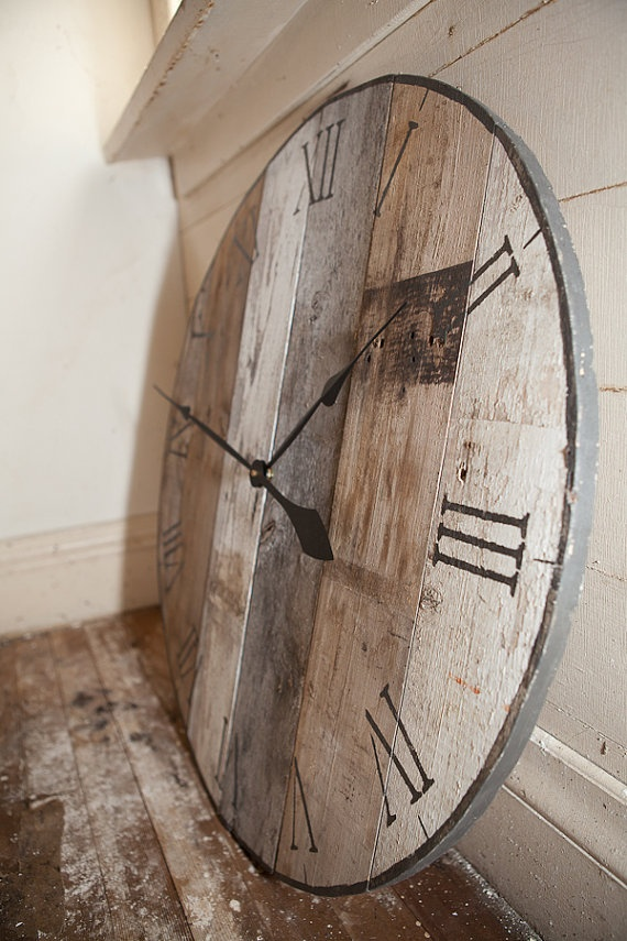 Gorgeous barn board clock by asinglesparrow on Etsy,