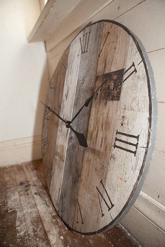 Gorgeous barn board clock by asinglesparrow on Etsy,