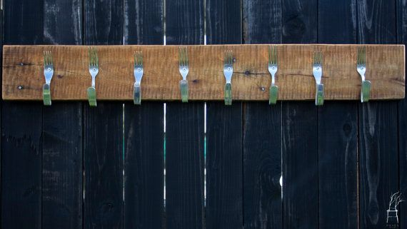 Hanger with forks. Rustic barn wood coat hat rack. by PriosTeam