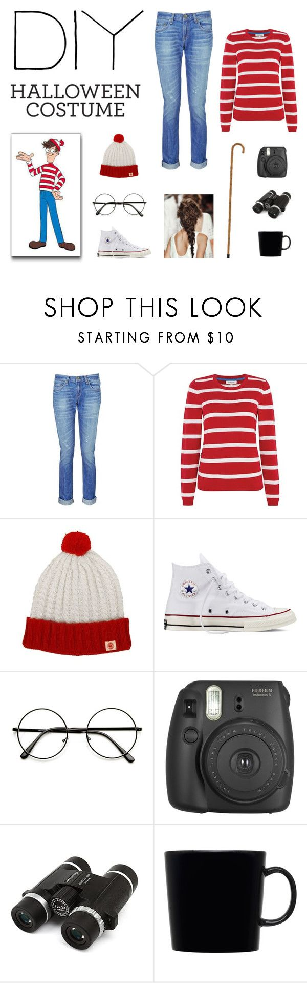 """Where's Waldo DIY Halloween Costume Contest Entry"" by lovesixteen ❤ liked on Polyvore featuring rag & bone, Tulchan, Converse and iittala"