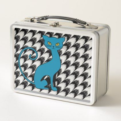 Blue Cat on Black & Metal Hounds-Tooth Metal Lunch Box - modern gifts cyo gift ideas personalize