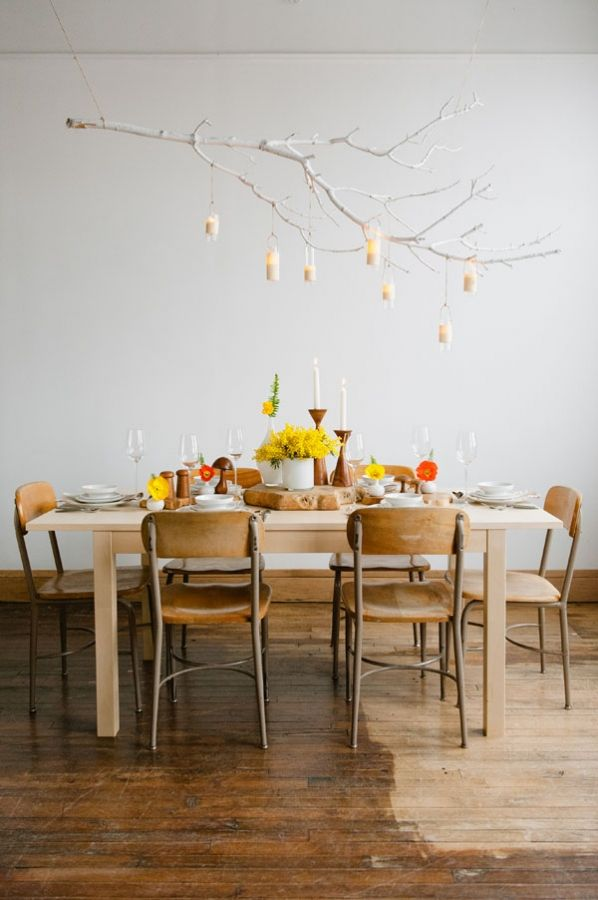 love these chairs... kind of remind me of an old school house! also love the floating branch decor