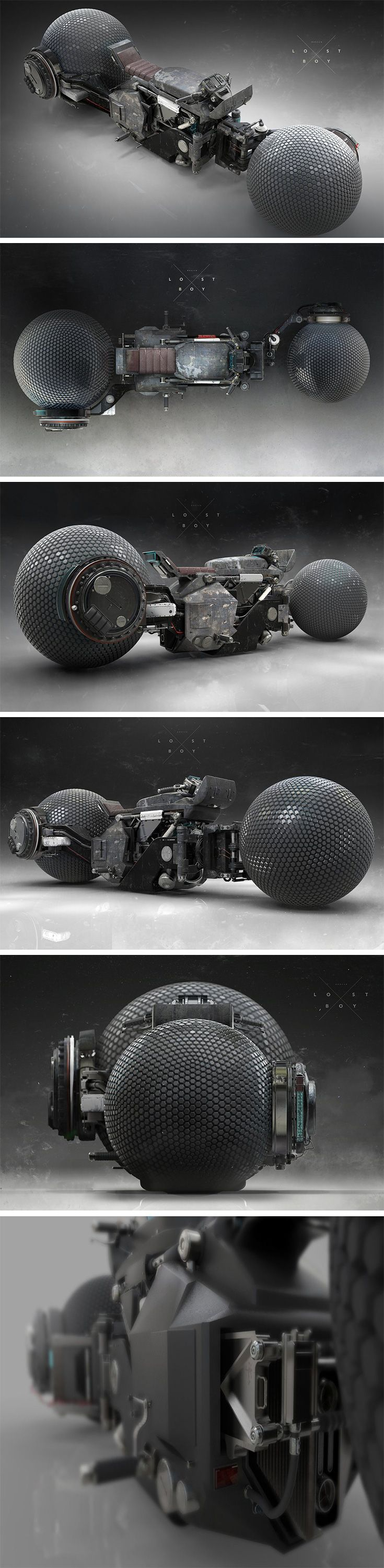 As featured in the sci-fi film LOSTBOY, this mean-looking motorcycle concept by designer Patrick A Razo is part steampunk and part ultra-futurism!