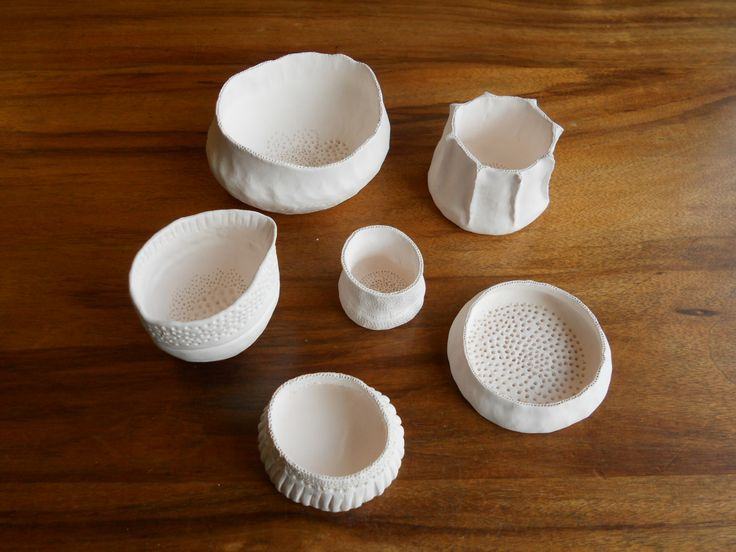 Porcelain pinch pots, bisqued and waiting to be glazed. Made by Janine Flew at a workshop with Vicki Grima, Start Craft Centre, Mittagong, July 2016.