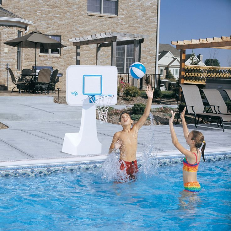 Basketball Hoop: PoolSport Portable Pool Basketball/Volleyball Set - BV700 STAINLESS
