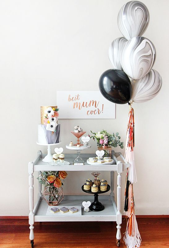 marble and copper themed afternoon tea marble balloons. Black Bedroom Furniture Sets. Home Design Ideas