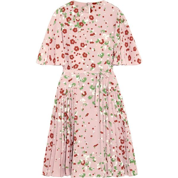 Valentino Floral-print silk crepe de chine dress (€2.465) ❤ liked on Polyvore featuring dresses, haljine, vestidos, pink floral dress, silk floral dress, flower printed dress, button dress and floral dresses