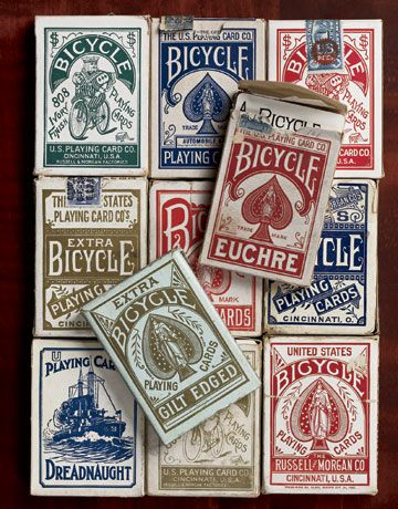 EUCHRE | Vintage Bicycle Card Boxes  Vintage examples of the boxed Bicycle playing cards range from an 1885 extra-gilt-edged pack to a 32-card euchre deck (c. 1920). The female figure of Columbia depicted on the ace of spades has been a logo for Bicycle's maker since the 1880s.
