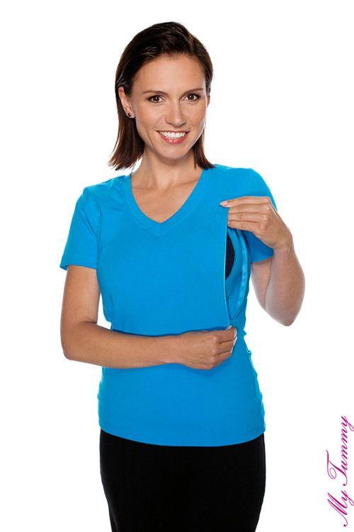 T shirt per allattamento manica corta turchese