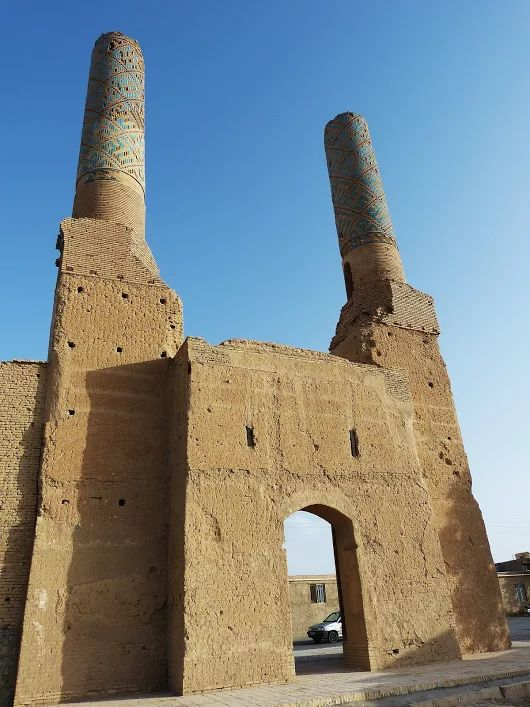 The Twin Tower: The towers of the ruin of Nadzamiyyah Mosque which was built during Ilkhanid or Muzaffarid period ca. 13-14 cent AD. Abarkooh-Yazd, April 2017
