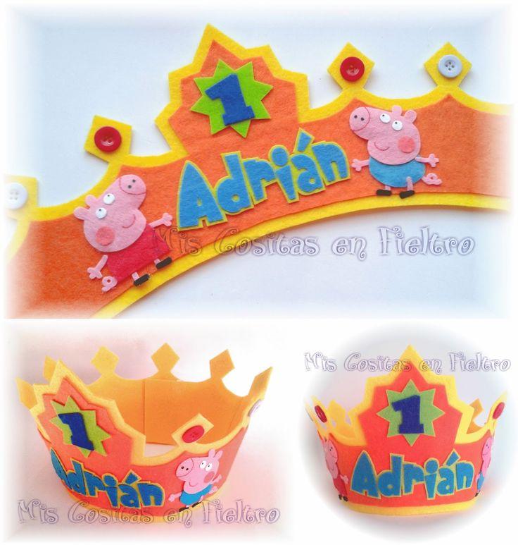 corona de cumpleaños, corona de fieltro, Peppa Pig, George Pig, fiesta,