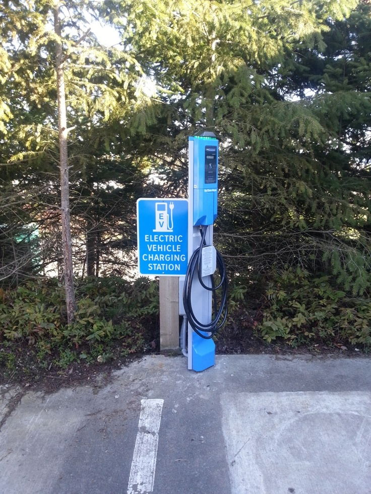 New electric vehicle charging station in Parksville, BC for the Regional District of Nanaimo.