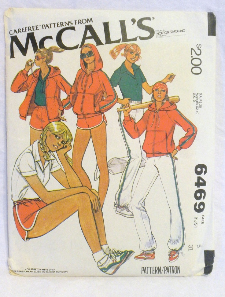 1970s Active Wear Pattern-1979 McCalls 6469- Sporty Roller-Boogie Hoodie, Top, Shorts, Pants- 31 Bust. $2.00, via Etsy.