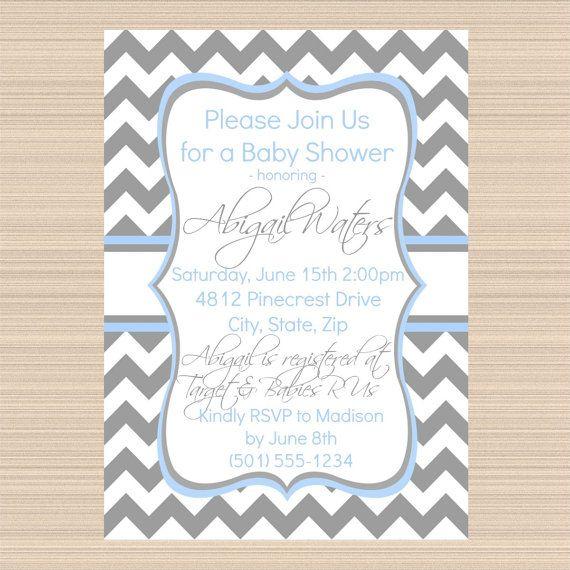 grey and blue chevron baby shower digital invitation