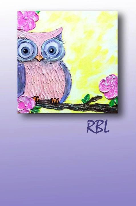 Colorful Owl Painting 16x16 by MerryMemories on Etsy, $130.00
