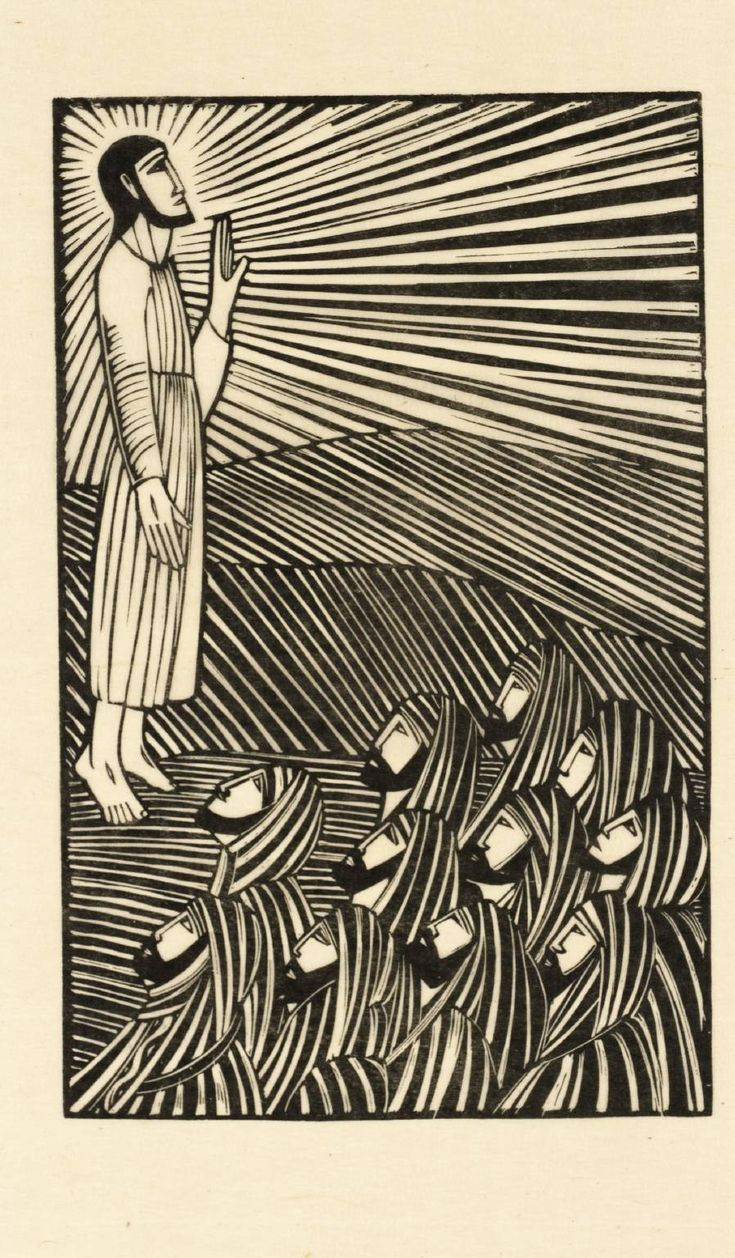 """Ascension"" by Eric Gill (1918).  Tate Collection.  Relief print on paper."