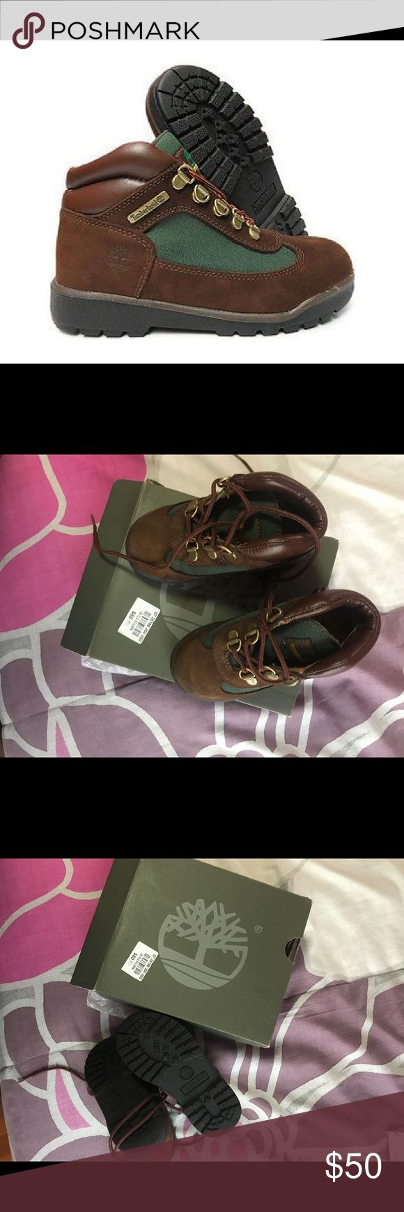 Timberland field boot brown green Tims Only worn once. Excellent condition bundle for saving or feel free to make an offer. Listed as girls but can fit boys also as these boots are gender neutral Timberland Shoes Boots