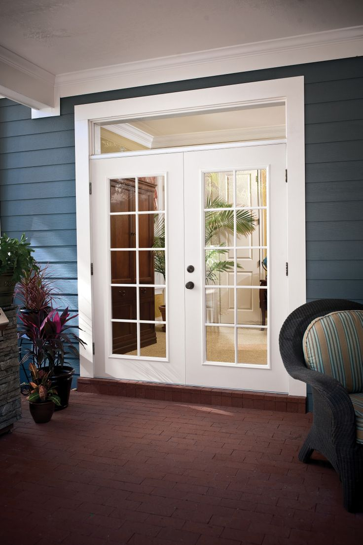 Entry doors with rectangular transoms 6 8 quot prehung - Maxima Doors By Norandex 2 Panel French Door With External Grids And Rectangle Transom With