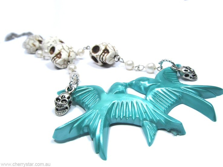 Skulls, Swallows and Pearls Necklace
