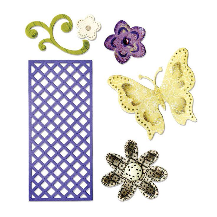 Sizzix.co.uk - Sizzix Thinlits Die Set 6PK - Butterfly, Flowers & Lattice