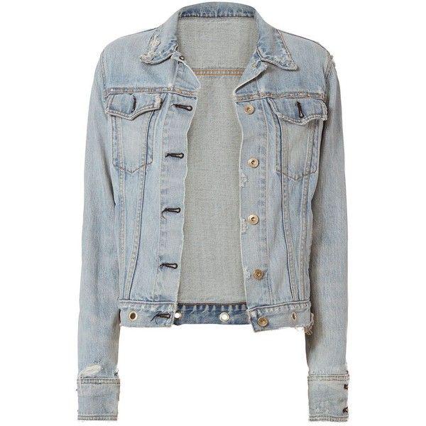 Rag & Bone Women's /JEAN Avenida Studded Denim Jacket found on Polyvore featuring outerwear, jackets, denim, sweaters, distressed jean jacket, rag bone jacket, distressed jacket, jean jacket and flap jacket