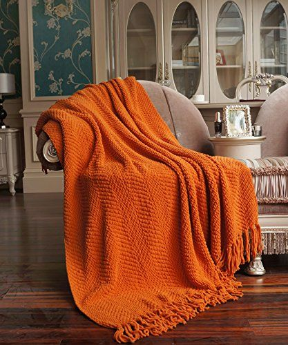 BNF HOME - Throw - Knitted Tweed Throw, Couch Cover Throw Blanket - Burnt Orange BNF Home http://www.amazon.com/dp/B00H8CQYS0/ref=cm_sw_r_pi_dp_-YyZub01A8EEM