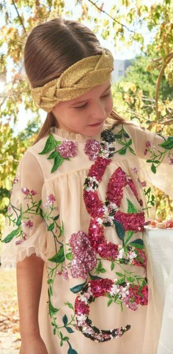 60c08129722f Gucci Girls Pink Sequin Floral Dress for Spring Summer 2018. Gorgeous  Designer Girls Mini Me Look Inspired by the Gucci Women's Collection True  Luxury Girls ...