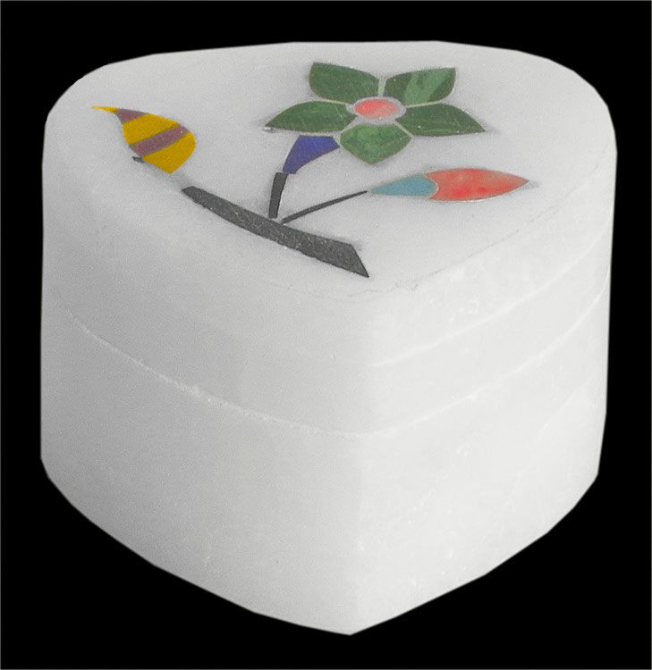 Marble Kumkum Container with Inlay Work (Marble))