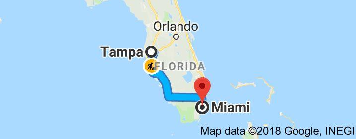 Map from Tampa Florida USA to Orlando Florida USA