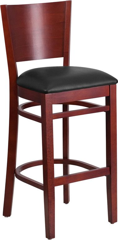 Flash Furniture XU-DG-W0094BAR-MAH-BLKV-GG Lacey Series Solid Back Mahogany Wooden Restaurant Barstool - Black Vinyl Seat