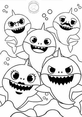 Dibujos de baby shark para colorear 🐋🎶 in 2020 | Baby ...
